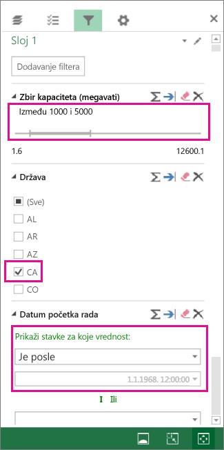 Filteri za brojeve, tekstualne vrednosti i datume