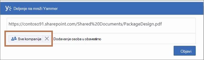 Objavljivanje poruke u PDF datoteku za Yammer