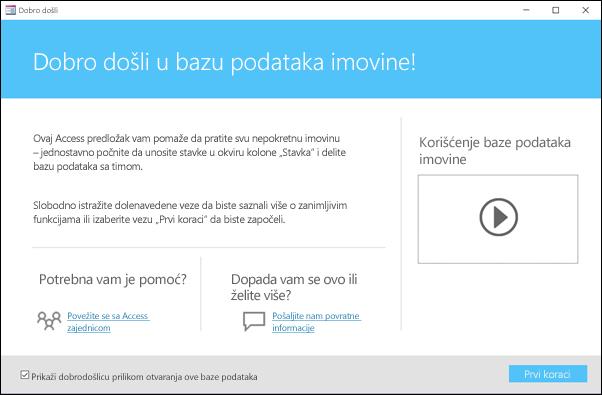 """Obrazac """"Prvi koraci"""" u predlošku Access baze podataka za sredstva"""