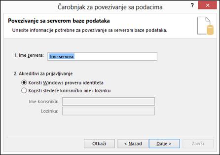 Čarobnjak za povezivanje podataka > Poveži se sa serverom