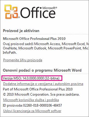 Broj verzije sistema Office