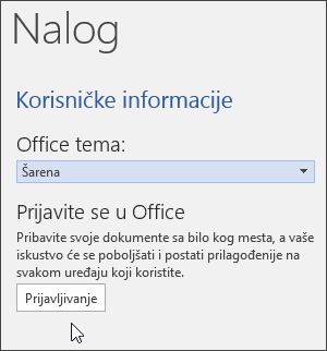 Snimak ekrana koji prikazuje informacije o nalogu u programu Word