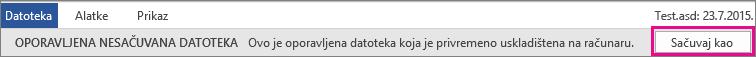Čuvanje oporavljene datoteke u sistemu Office 2016