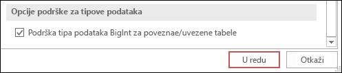 """Snimak ekrana opcije """"Podrži tip bigint za povezane/uvezene tabele"""" koja je izabrana u okviru opcija programa Access."""