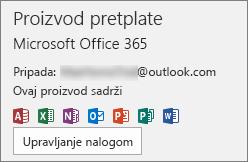 Prikazuje nalog e-pošte povezan sa sistemom Office