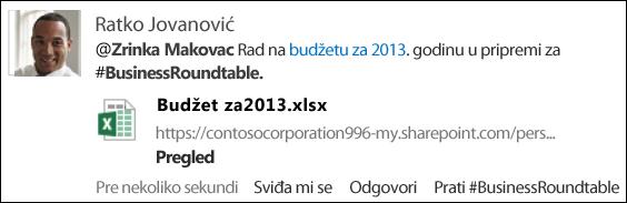 Stavka feeda za vesti koja sadrži @referencu, vezu ka dokumentu i #oznaku