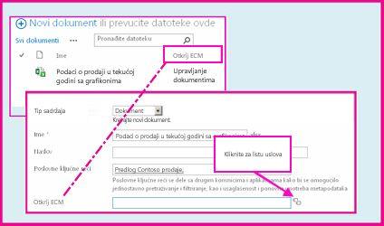 """Kolona """"Kontrolisani metapodaci"""" omogućava korisnicima da izaberu unapred definisane vrednosti koje će biti unete u kolonu pomoću svojstava dokumenta."""