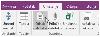 """Snimak ekrana dugmeta """"Otisak datoteke"""" u programu OneNote 2016."""