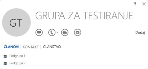"""Snimak ekrana kartice """"Članovi"""" Outlook kontakt kartice za grupu pod imenom """"Probna grupa"""". Grupe """"Podgrupa 1"""" i """"Podgrupa 2"""" prikazane su kao članovi."""