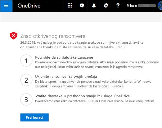 Snimak ekrana znake ransomware otkrivena ekrana na Veb lokaciji OneDrive