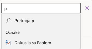 Polje za pretragu sa slovom p i rezultatima diskusije sa Paolom