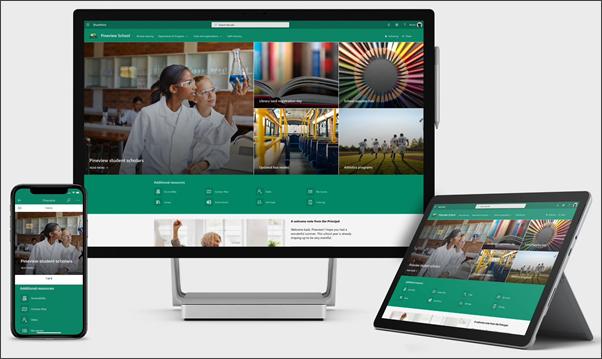 Primer školske Home stranice na drugim uređajima