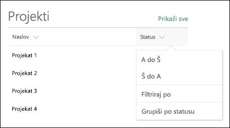 Web segment liste sa sortiranje, filtriranje i grupisanje meni