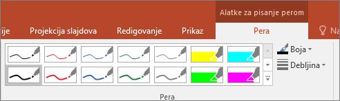 Prikazuje opcije stila pera u sistemu Office