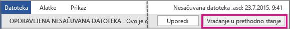 Otvaranje nesačuvane datoteke u sistemu Office 2016