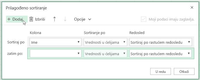 """Pošto kliknete na """"Dodaj"""", još jedan nivo sortiranja će se pojaviti na listi blizu opcije """"zatim po"""""""