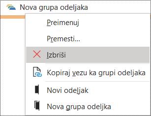 Brisanje grupe odeljaka u dijalogu programa OneNote za Windows