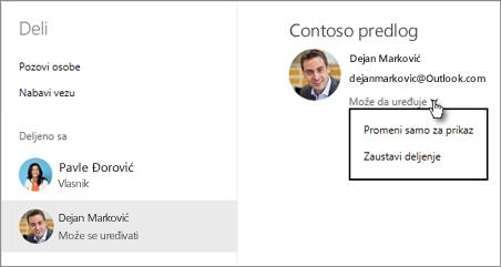 Uređivanje dozvola za deljenje u usluzi OneDrive