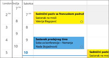 Kalendar sa 3 vremenske zone sa leve strane i sastancima sa desne strane