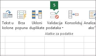 Proverite valjanost padajuće liste tako što ćete izabrati Podaci > Validacija podataka u programu Excel