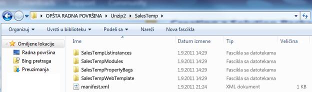 Snimak ekrana programa Windows Explorer koji prikazuje raspakovani paket veb rešenja (.wsp).