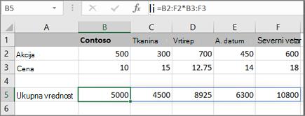 Primer formule niza koja izračunava više rezultata