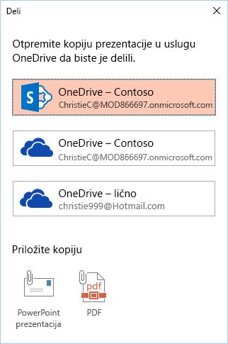 Ako još uvek niste sačuvali prezentaciju u usluzi OneDrive ili SharePoint, bićete upitani da biste to uradili.
