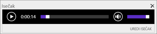 Snimak ekrana sistema SharePoint Online sa trakom za kontrolu zvuka isečka koja prikazuje ukupnu dužinu vremena zvučne datoteke i pruža kontrolu nad početkom i krajem reprodukcije datoteke.