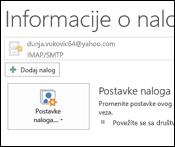 Dodavanje novog naloga e-pošte