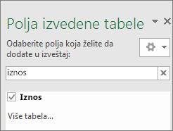 """Okno """"Polje izvedene tabele"""" koje prikazuje rezultate pretrage"""