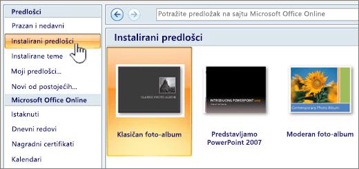 Izbor instaliranih predložaka