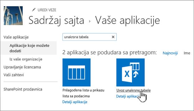 Uvoz unakrsne tabele aplikacije markirane u novi dijalog aplikacije