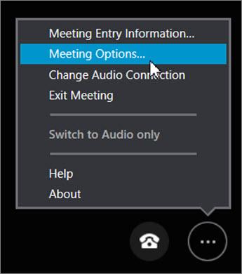 Kliknite na dugme još opcija > Opcije sastanka...