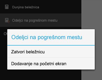Komanda zatvori beležnicu u programu OneNote za Android