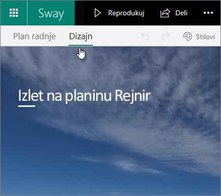 "Kartica ""Dizajn"" u usluzi Sway"