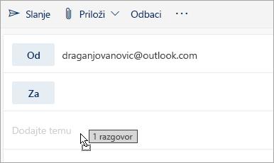 Snimak ekrana poruke koja se prevlači u okno za pisanje