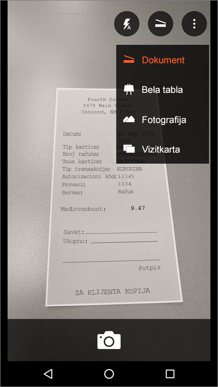 Snimak ekrana koji prikazuje kako se snima slika u aplikaciji Office Lens za Android.