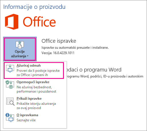Ručno traženje Office ispravki u programu Word 2016