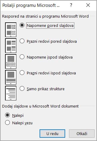 Slanje u Microsoft Word