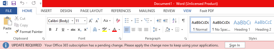 """Crveni baner u Office aplikacijama na kom piše: """"NEOPHODNO JE AŽURIRANJE: Pretplata na Office 365 ima promenu na čekanju. Primenite promenu odmah da biste nastavili da koristite aplikacije""""."""