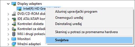 Idite u Windows upravljač uređajima da biste upravljali upravljačkim programima video adaptera.