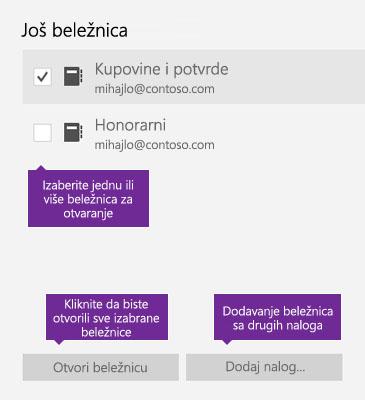 """Snimak ekrana prozora """"Još beležnica"""" u programu OneNote"""