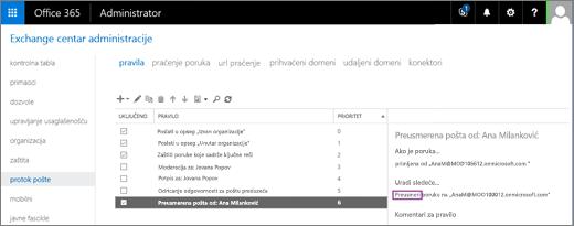 Snimak ekrana prikazuje stranici pravila oblasti protok pošte u Exchange centru administracije. U polju za potvrdu uključeno je izabran za pravilo za preusmeravanje korisnik ali Belew pošte.