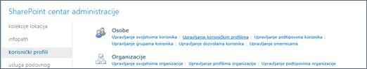 """Upravljanje korisničkim profilima vezu na stranici """"Korisnički profili"""""""