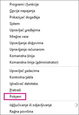 """Komanda """"Pokreni"""" posle desnog klika na dugme """"Start"""" u operativnim sistemima Windows 8 i Windows 10"""