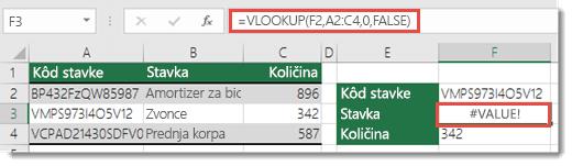 "#VALUE! greška prikazuje se kada je vrednost argumenta ""col_index_argument"" manja od jedan 1"