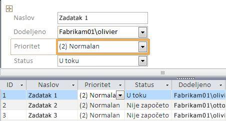 Kreiranje prikaza pomoću programa Microsoft Access