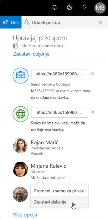 Promena ili zaustavljanje deljenja u usluzi OneDrive
