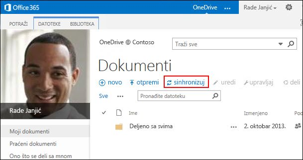 OneDrive for Business biblioteka u sistemu Office 365