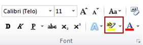 the text highlight color command in the font group